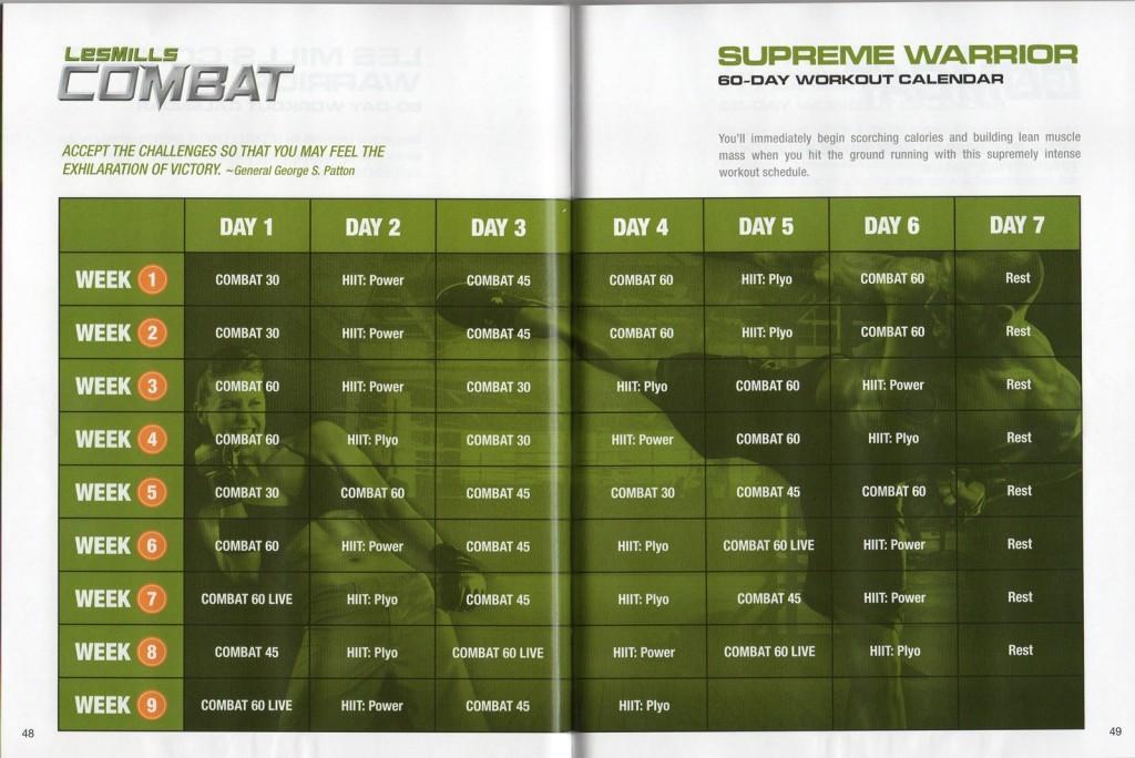 Les Mills Combat_02 60 Day Supreme Warrior Calendar